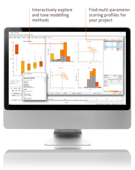 Monitor showing MPO Explorer software usage in drug discovery